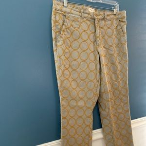 Anthropologie embroidered jeans.